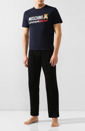 Мужская хлопковая футболка MOSCHINO темно-синего цвета, арт. A1914/8103 | Фото 2
