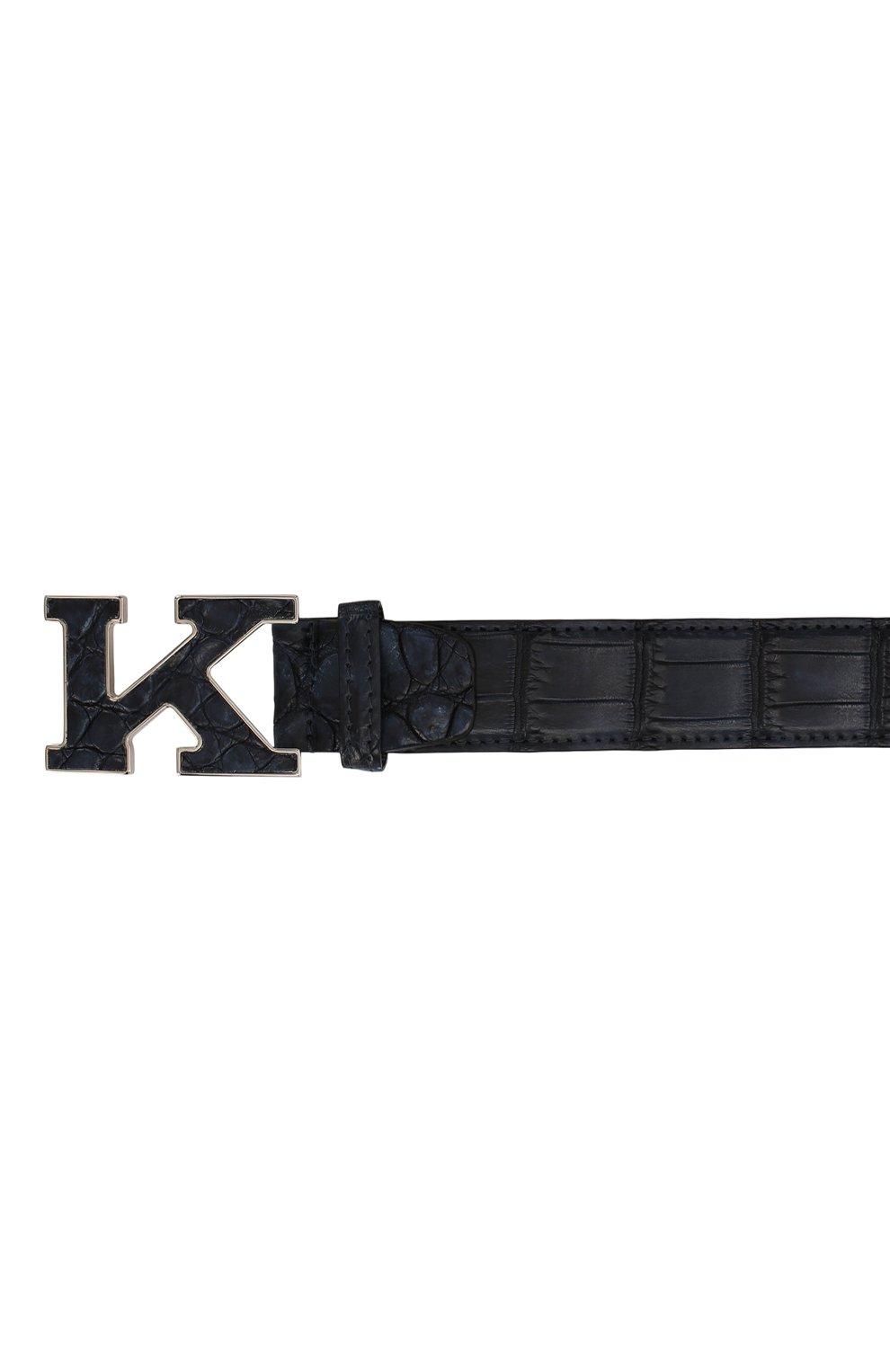 Мужской ремень из кожи крокодила KITON темно-синего цвета, арт. USC20PN00102/CNIL | Фото 3