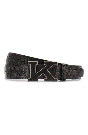 Мужской ремень из кожи крокодила KITON темно-серого цвета, арт. USC20PN00102/CNIL | Фото 1