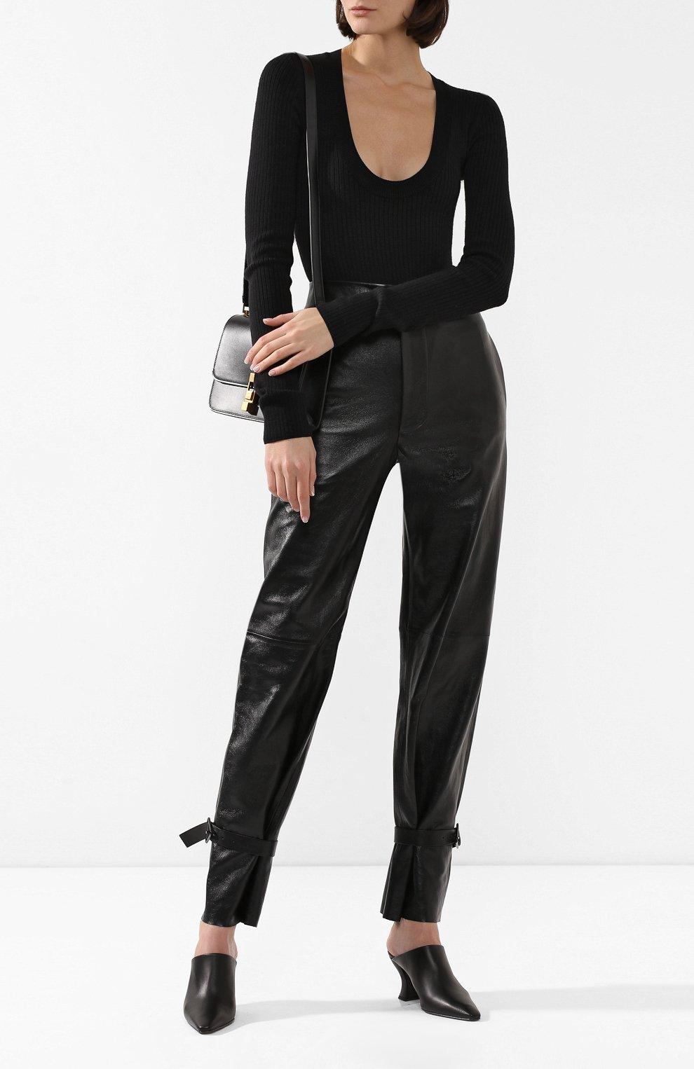 Женские кожаные мюли BOTTEGA VENETA черного цвета, арт. 608838/VBSD0 | Фото 2