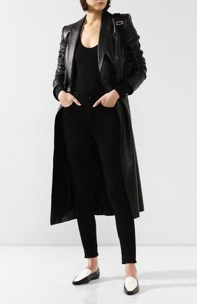 Женские кожаные лоферы minimal THE ROW черно-белого цвета, арт. F1095-L66 | Фото 2