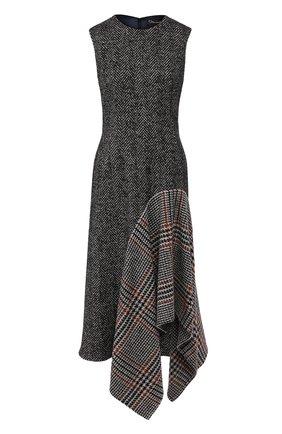 Женское платье из смеси шерсти и шелка OSCAR DE LA RENTA серого цвета, арт. 19FN228HGT | Фото 1
