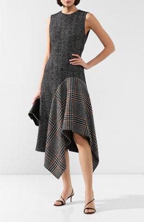 Женское платье из смеси шерсти и шелка OSCAR DE LA RENTA серого цвета, арт. 19FN228HGT | Фото 2