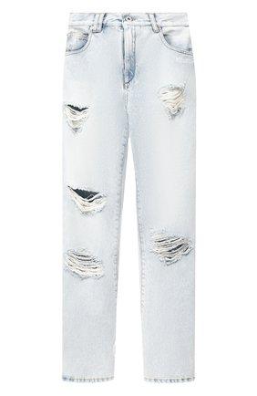 Женские джинсы с потертостями OFF-WHITE голубого цвета, арт. 0WYA012F197730647101   Фото 1
