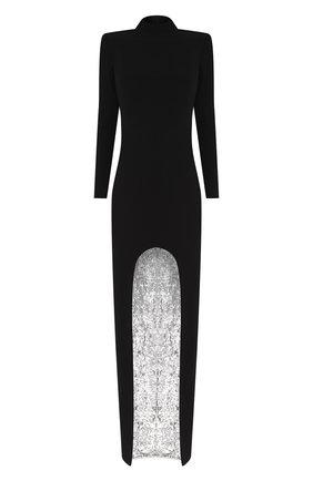 Женское платье-макси TOM FORD черного цвета, арт. AB2703-FAX459 | Фото 1 (Материал подклада: Шелк; Рукава: Длинные; Материал внешний: Вискоза; Случай: Вечерний; Длина Ж (юбки, платья, шорты): Макси)
