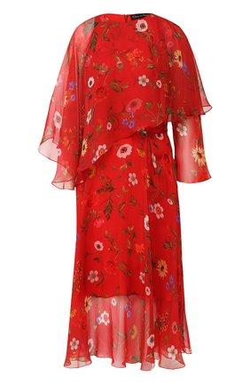 Женское шелковое платье OSCAR DE LA RENTA красного цвета, арт. 20RN251MXC | Фото 1