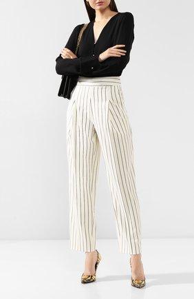 Женские шерстяные брюки OSCAR DE LA RENTA белого цвета, арт. 20RN323PSG | Фото 2