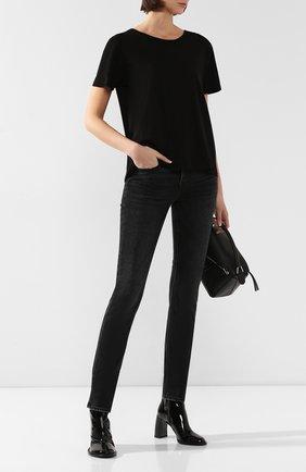 Женская хлопковая футболка MONROW черного цвета, арт. HT0415SFJ | Фото 2