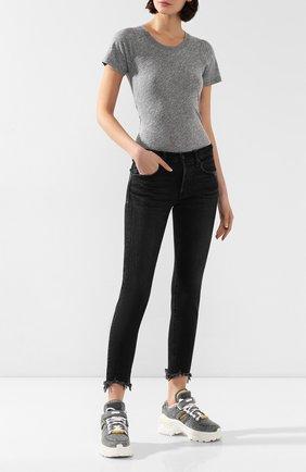 Женская футболка MONROW серого цвета, арт. HT002MHJ | Фото 2