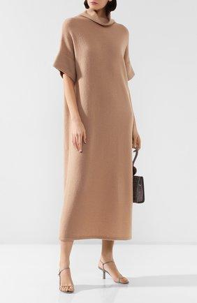 Женское платье из смеси кашемира и шелка THE ROW бежевого цвета, арт. 4836Y382 | Фото 2