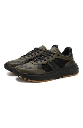 Мужские кожаные кроссовки BOTTEGA VENETA хаки цвета, арт. 565646/VJE21 | Фото 1