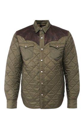 Куртка с кожаной отделкой | Фото №1