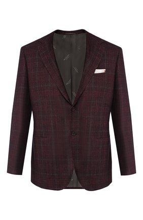 Мужской пиджак из смеси шерсти и кашемира KITON бордового цвета, арт. UG81K01S56 | Фото 1