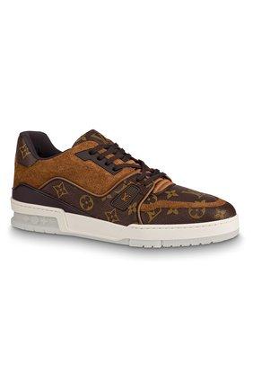 Мужские комбинированные кроссовки lv trainer LOUIS VUITTON темно-коричневого цвета, арт. 1A5URA | Фото 1