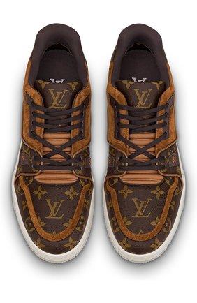 Мужские комбинированные кроссовки lv trainer LOUIS VUITTON темно-коричневого цвета, арт. 1A5URA | Фото 2