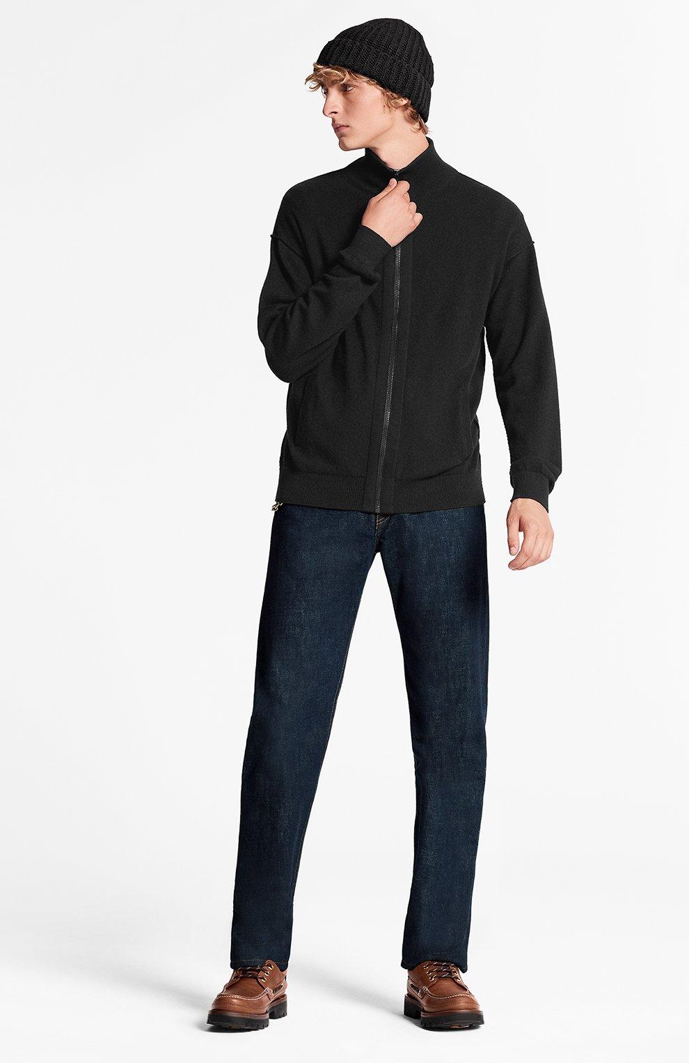 Мужской кашемировый кардиган inside out LOUIS VUITTON черного цвета, арт. 1A5V7F   Фото 2 (Мужское Кросс-КТ: Кардиган-одежда; Материал внешний: Шерсть, Кашемир; Стили: Кэжуэл)