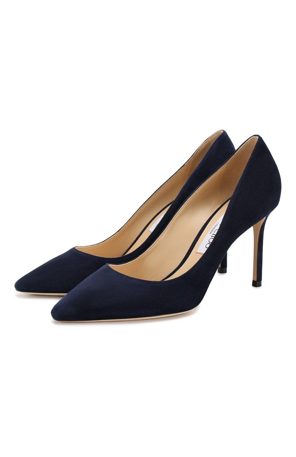 Женские замшевые туфли romy 85 JIMMY CHOO темно-синего цвета, арт. R0MY 85/SUE | Фото 1