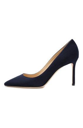 Женские замшевые туфли romy 85 JIMMY CHOO темно-синего цвета, арт. R0MY 85/SUE | Фото 3