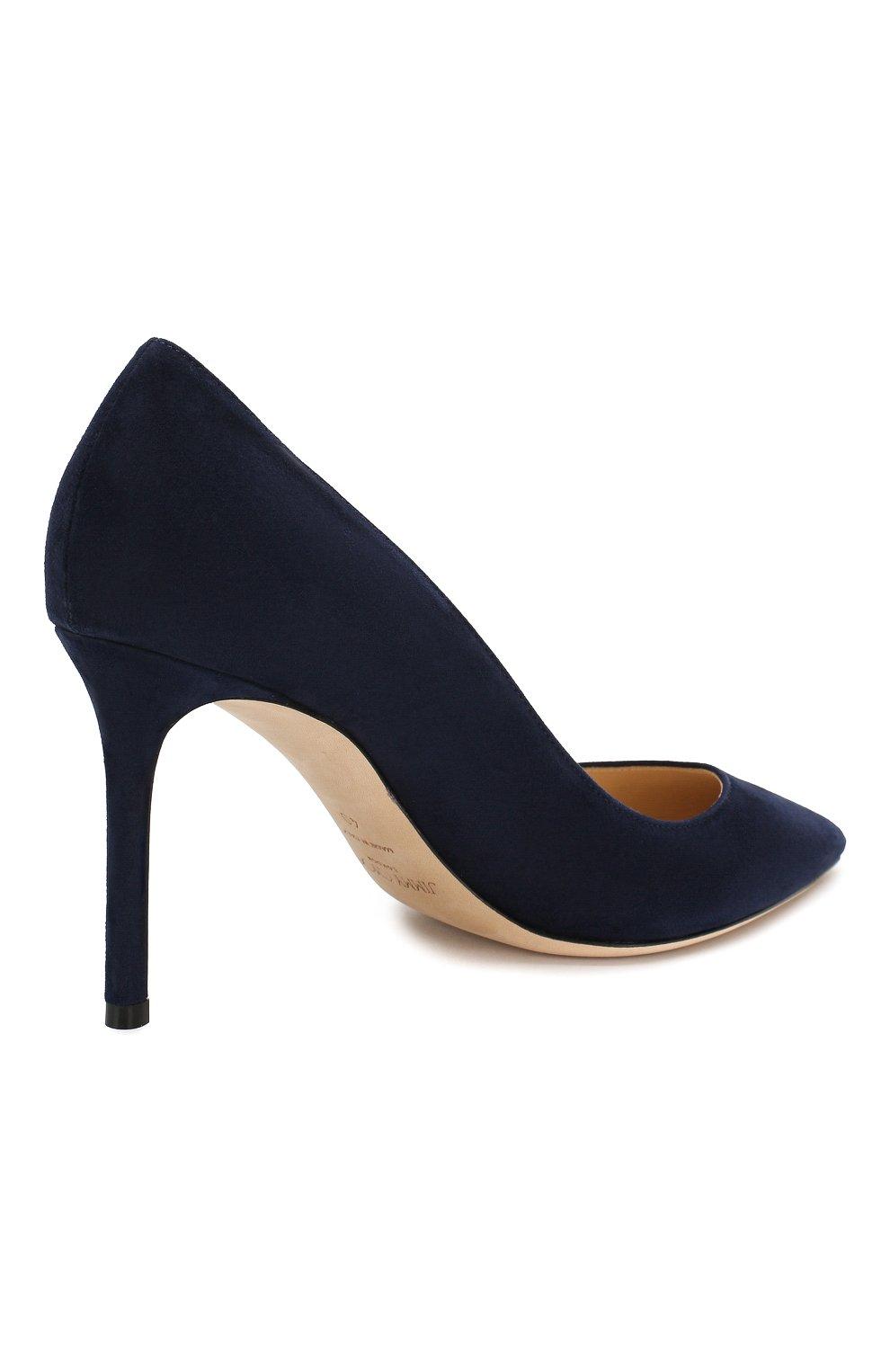 Женские замшевые туфли romy 85 JIMMY CHOO темно-синего цвета, арт. R0MY 85/SUE | Фото 4