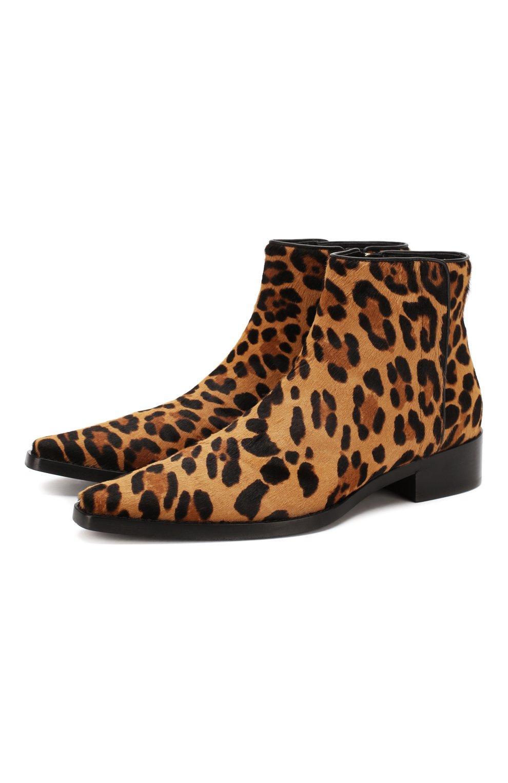 Женские кожаные ботинки zanzara DOLCE & GABBANA леопардового цвета, арт. CT0583/AI533 | Фото 1