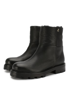 Женские кожаные ботинки haysel JIMMY CHOO черного цвета, арт. HAYSEL FLAT/RLH | Фото 1