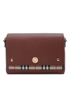 Женская сумка note medium BURBERRY коричневого цвета, арт. 8021111 | Фото 1 (Материал: Натуральная кожа; Сумки-технические: Сумки через плечо; Ремень/цепочка: На ремешке; Размер: medium)