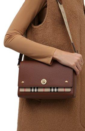 Женская сумка note medium BURBERRY коричневого цвета, арт. 8021111 | Фото 2 (Материал: Натуральная кожа; Сумки-технические: Сумки через плечо; Ремень/цепочка: На ремешке; Размер: medium)