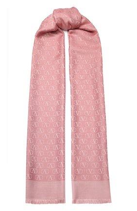 Женская шаль valentino garavani из смеси шелка и шерсти VALENTINO розового цвета, арт. TW2ED007/AJB | Фото 1
