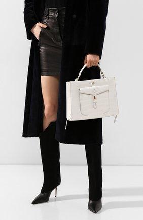 Женская сумка t twist small из кожи аллигатора TOM FORD белого цвета, арт. L1203T-EAL001/AMIS   Фото 2 (Ремень/цепочка: На ремешке; Размер: small; Сумки-технические: Сумки через плечо, Сумки top-handle)