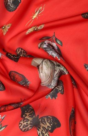 Женский шелковый платок ALEXANDER MCQUEEN красного цвета, арт. 610954/3011Q   Фото 2
