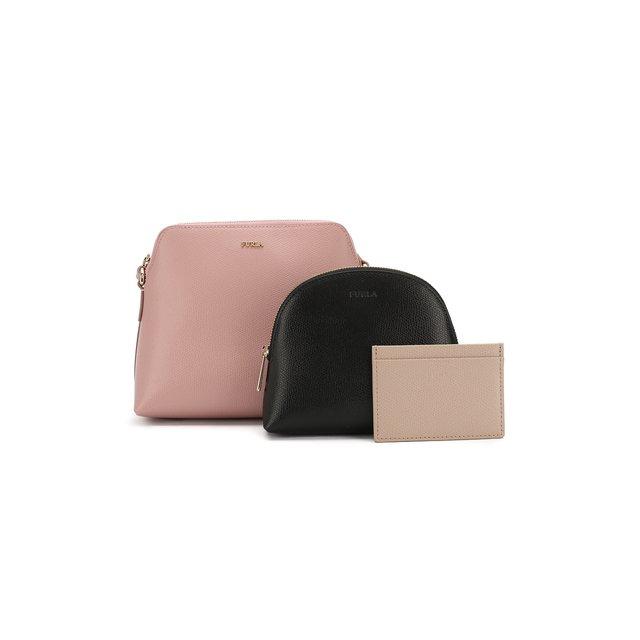 Набор из кожаной сумки-кошелька Boheme с косметичкой и визитницей Furla
