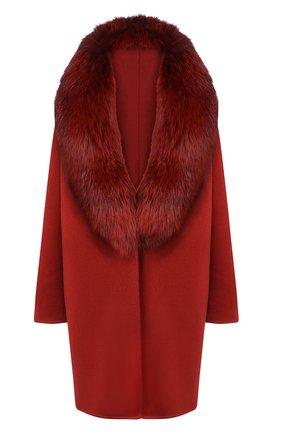 Женское пальто с меховым воротником COLOMBO бордового цвета, арт. CP00288/CP/6405-U | Фото 1