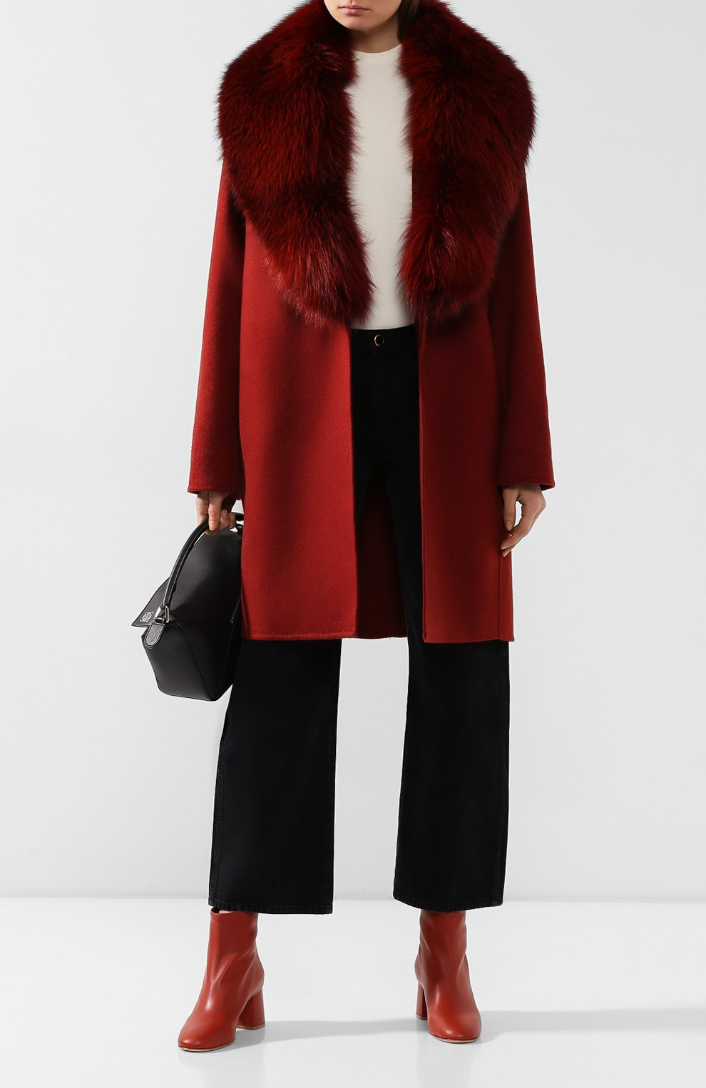 Женское пальто с меховым воротником COLOMBO бордового цвета, арт. CP00288/CP/6405-U | Фото 2