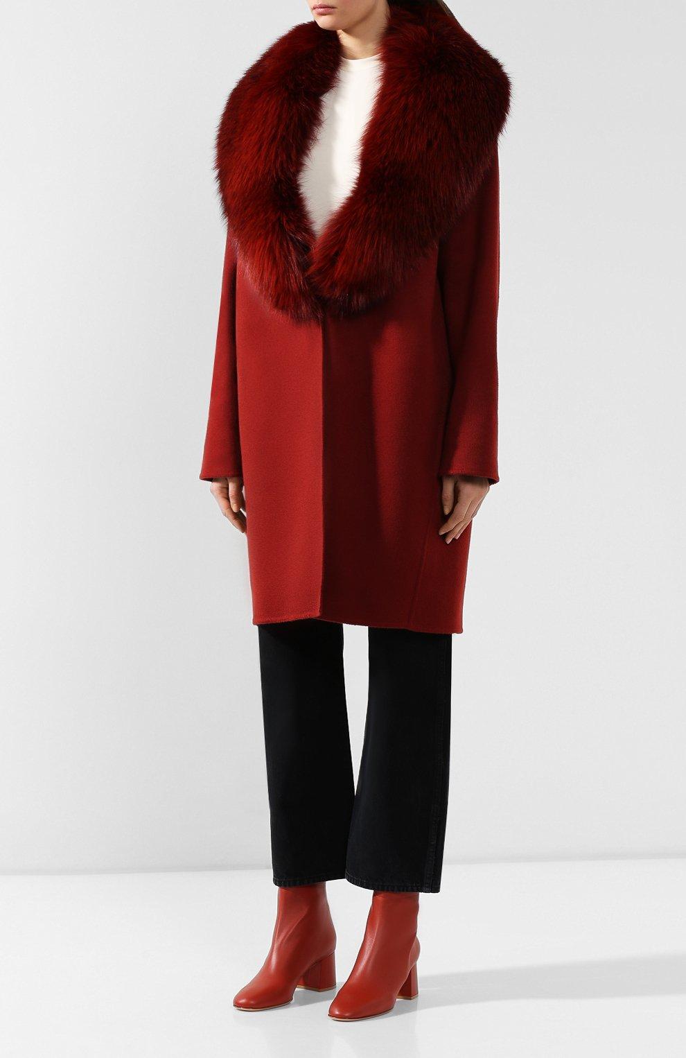 Женское пальто с меховым воротником COLOMBO бордового цвета, арт. CP00288/CP/6405-U | Фото 3