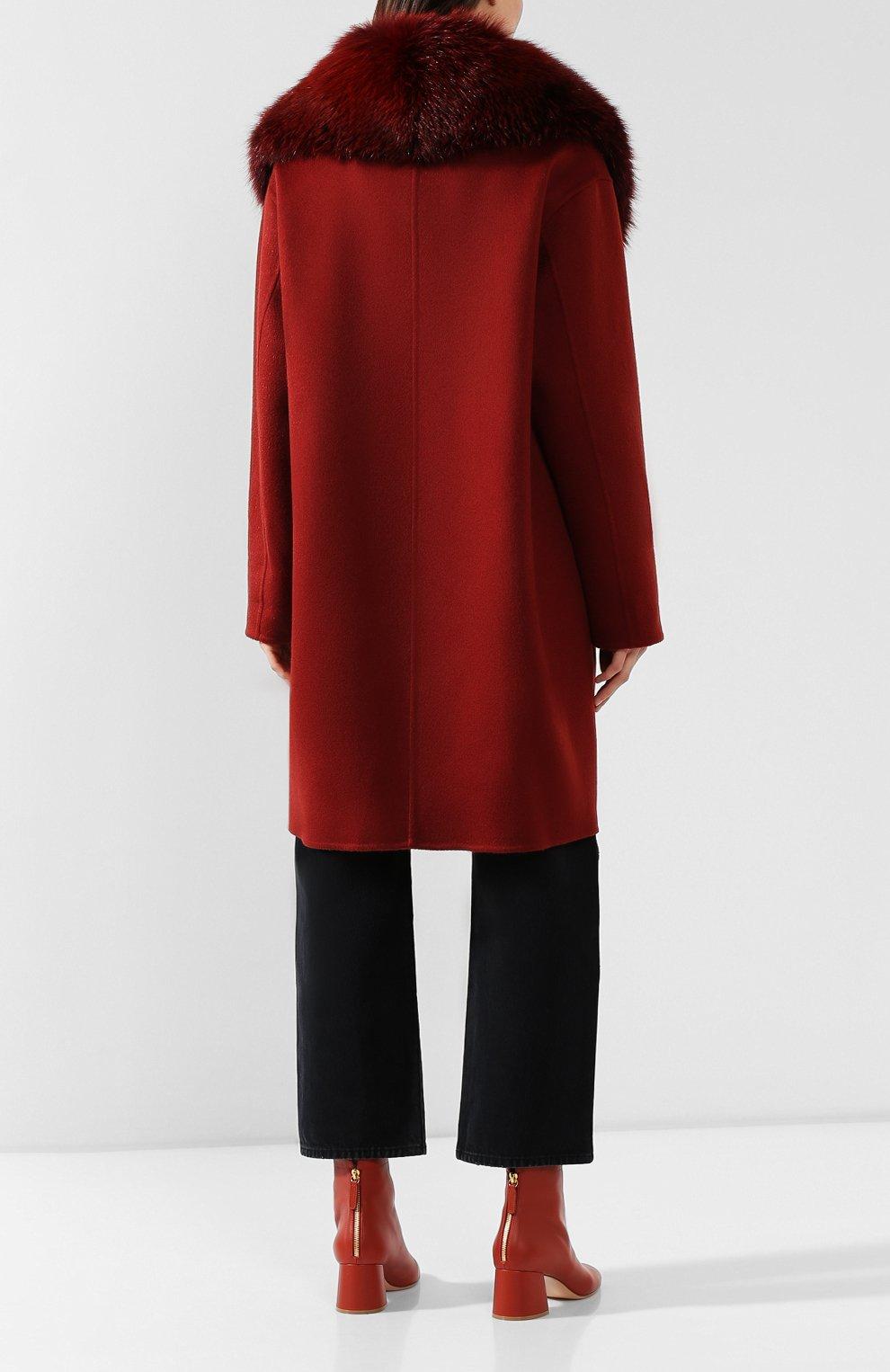 Женское пальто с меховым воротником COLOMBO бордового цвета, арт. CP00288/CP/6405-U | Фото 4