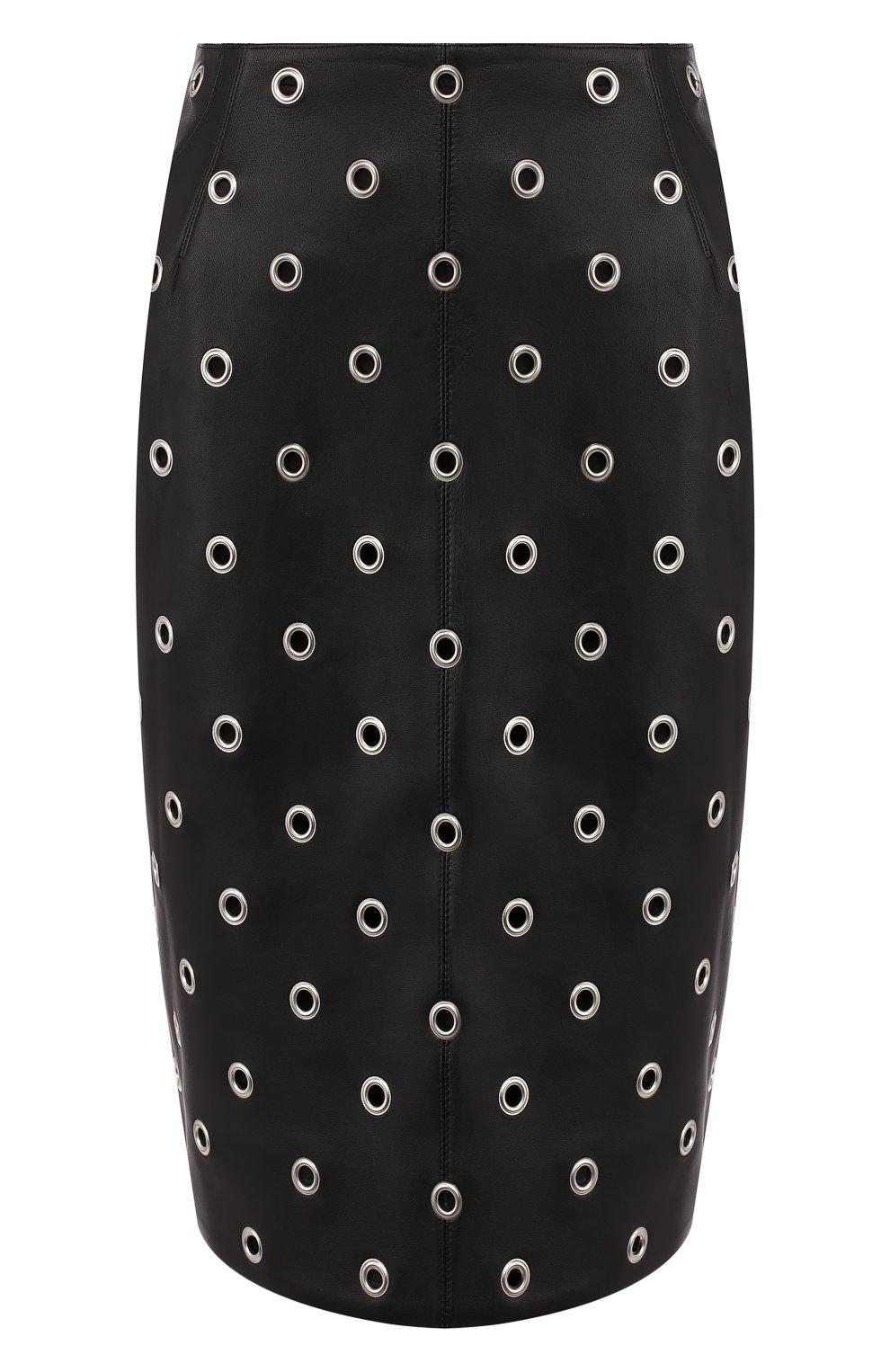 Женская кожаная юбка ALAIA черного цвета, арт. 9W9J346CC097 | Фото 1