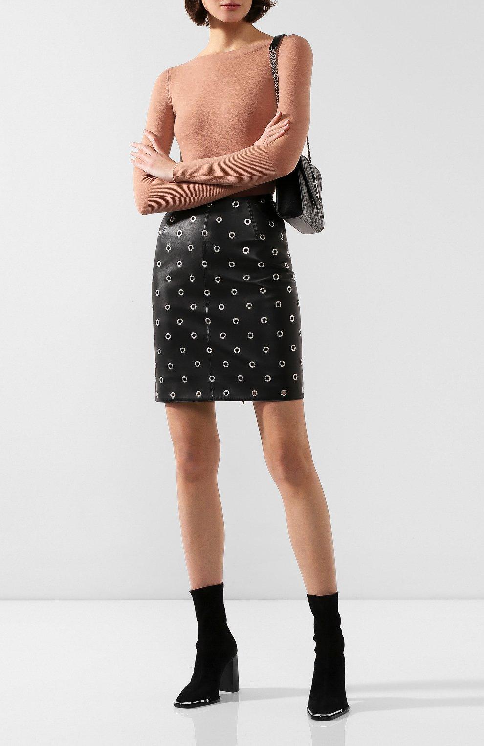 Женская кожаная юбка ALAIA черного цвета, арт. 9W9J346CC097 | Фото 2