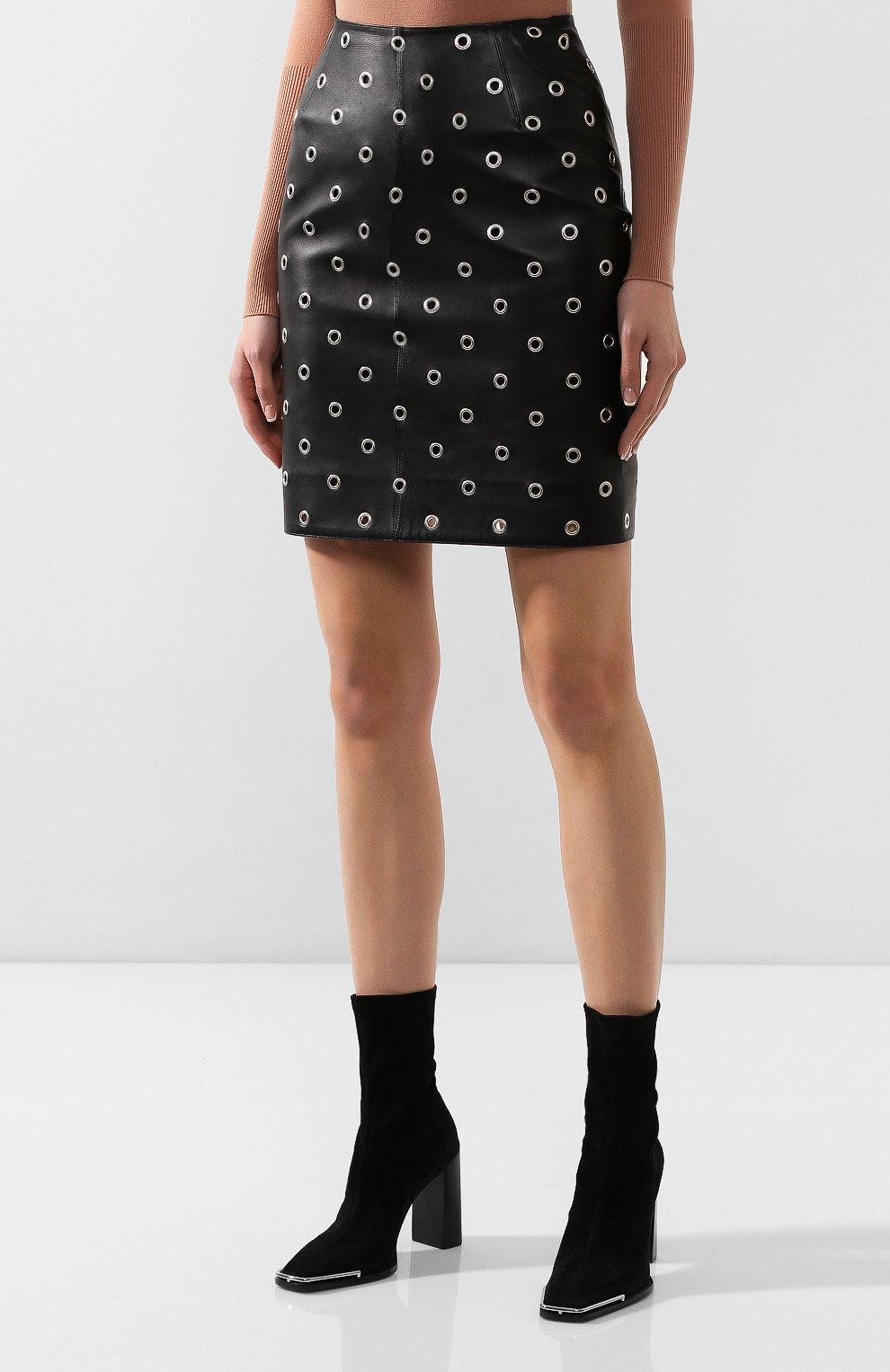 Женская кожаная юбка ALAIA черного цвета, арт. 9W9J346CC097 | Фото 3