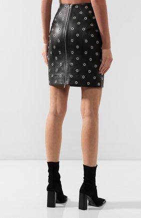 Женская кожаная юбка ALAIA черного цвета, арт. 9W9J346CC097 | Фото 4