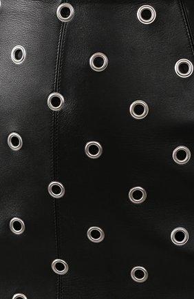 Женская кожаная юбка ALAIA черного цвета, арт. 9W9J346CC097 | Фото 5