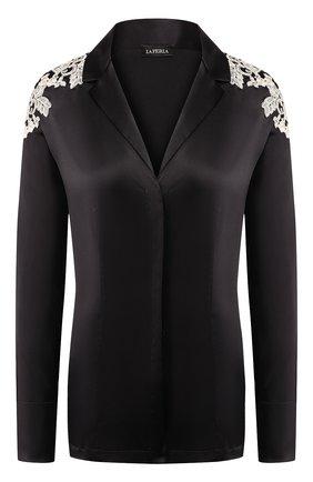 Женская шелковая рубашка LA PERLA черно-белого цвета, арт. 0021036 | Фото 1