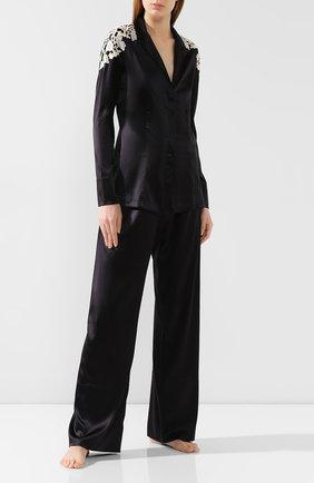 Женская шелковая рубашка LA PERLA черно-белого цвета, арт. 0021036 | Фото 2
