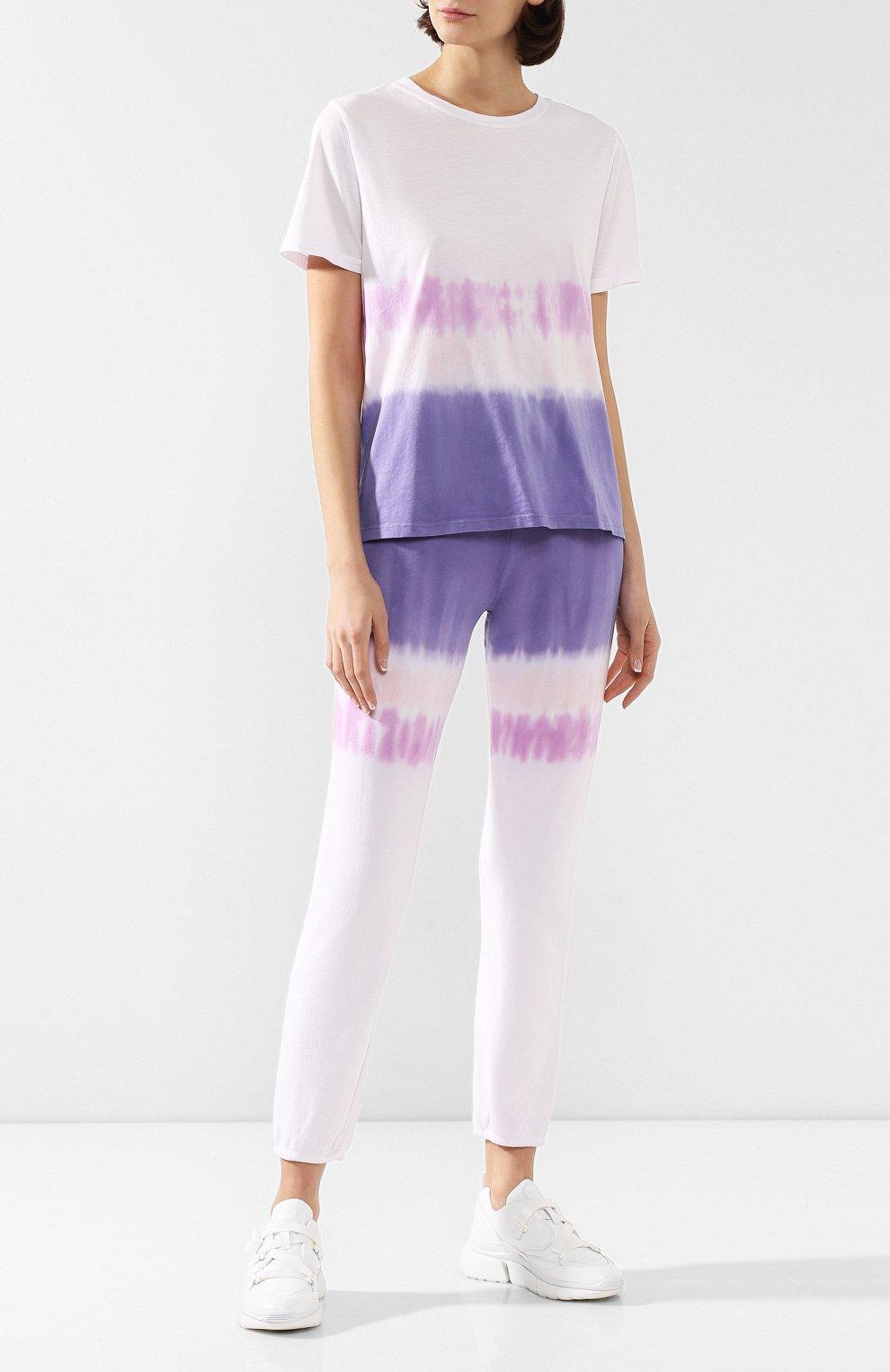 Женская хлопковая футболка MONROW фиолетового цвета, арт. HT0415-49 | Фото 2