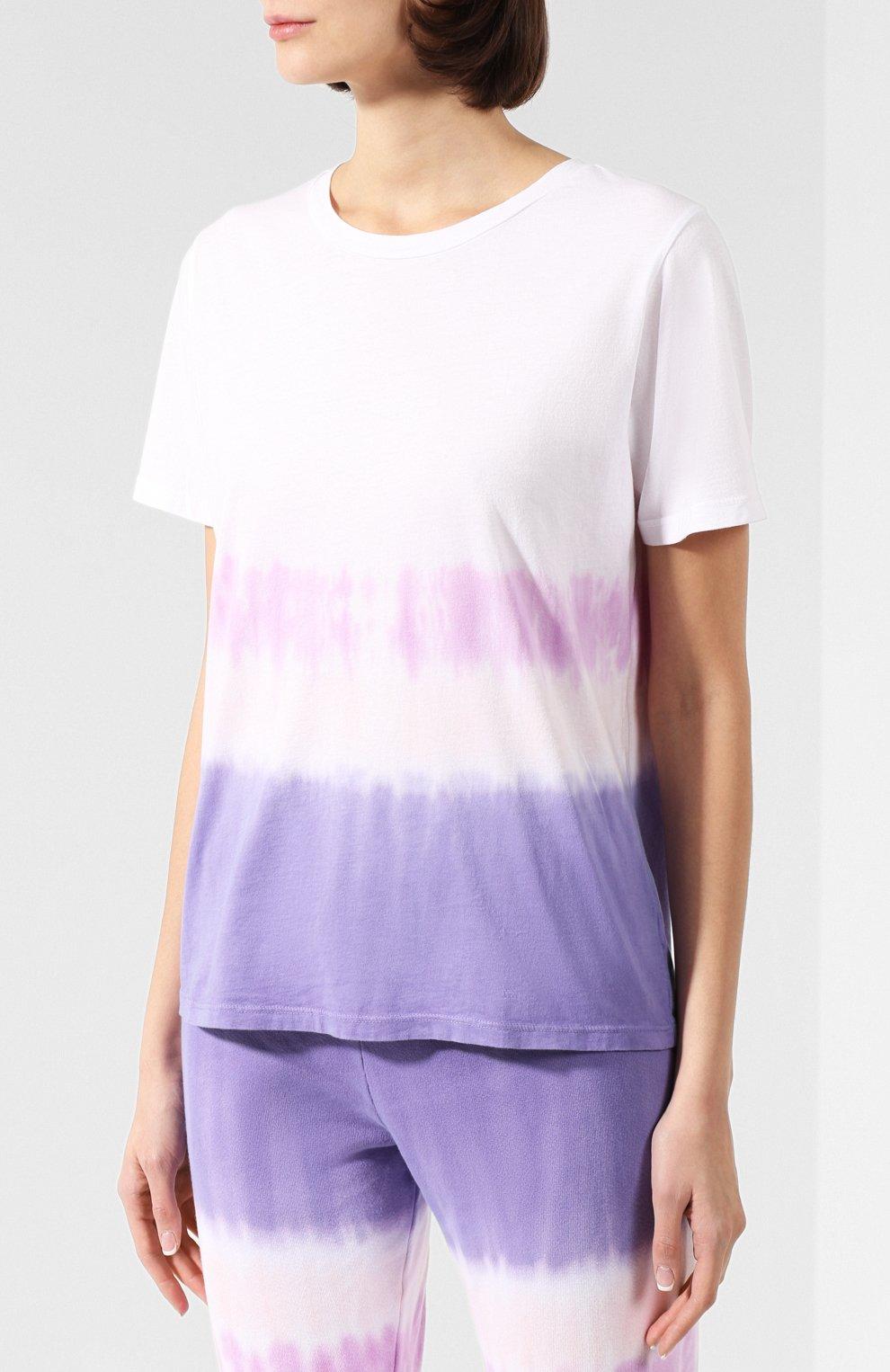 Женская хлопковая футболка MONROW фиолетового цвета, арт. HT0415-49 | Фото 3