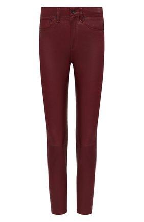 Женские кожаные брюки RAG&BONE бордового цвета, арт. WAW19F7049LF49 | Фото 1