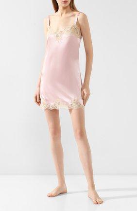 Женская сорочка из смеси шелка и хлопка DOLCE & GABBANA светло-розового цвета, арт. 06A00T/FUAD8 | Фото 2
