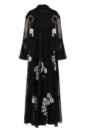 Женское шелковое платье VALENTINO черно-белого цвета, арт. SB0VD9S11C8 | Фото 1