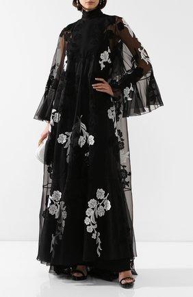 Женское шелковое платье VALENTINO черно-белого цвета, арт. SB0VD9S11C8 | Фото 2