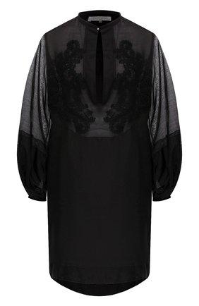Женское туника из смеси хлопка и шелка LILA EUGENIE черного цвета, арт. 2005 | Фото 1