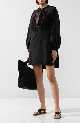 Женское туника из смеси хлопка и шелка LILA EUGENIE черного цвета, арт. 2005 | Фото 2